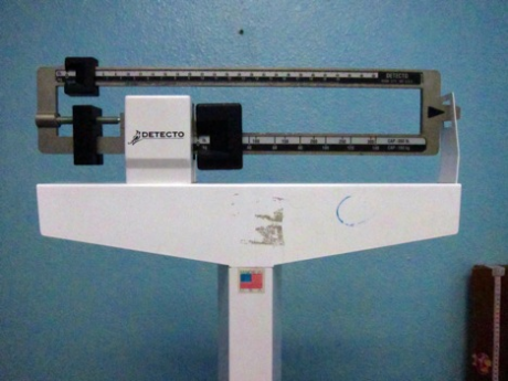 A scale in the Guatemalan nutrition and obesity clinic where I carried out my research.