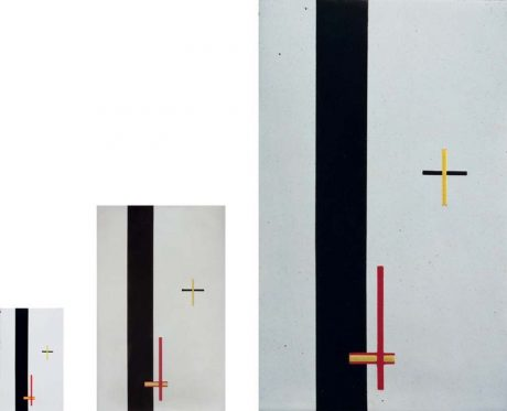Fig. 2: The artwork as information. Laszlo Moholy-Nagy, Constructions in Enamel I, II and III, 1923. Identical works at different scales, purportedly made by an enamel factory which had received the specifications over the telephone.