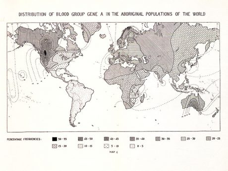 Figure 1. One of nine fold-out maps in Arthur Mourant's The Distribution of the Human Blood Groups (1954), indicating the world frequency distribution of Rhesus blood-group allele C. In mapping the heterogeneous and patchy collections sent to the Nuffield Blood Group Centre, the workers there used shading and isolines to indicate a smooth diffusion of genetic variation.