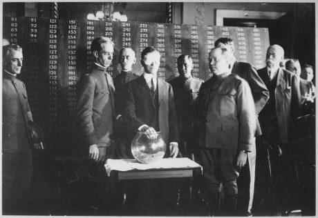 20 July 1917, Secretary of War Newton D. Baker, blindfolded, drew the first draft number in the lottery to be called up: Number 258.