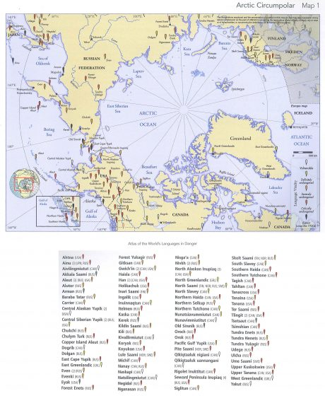 The UNESCo Atlas of Endangered Languages -- Arctic Circumpolar