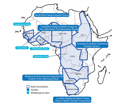"Fig. 3: ""PIDA's transboundary water Impact"" from the African Union's vision statement, ""Programme for Infrastructure Development in Africa: Interconnecting, Integrating, and Transforming a Continent,"" pg. 14."