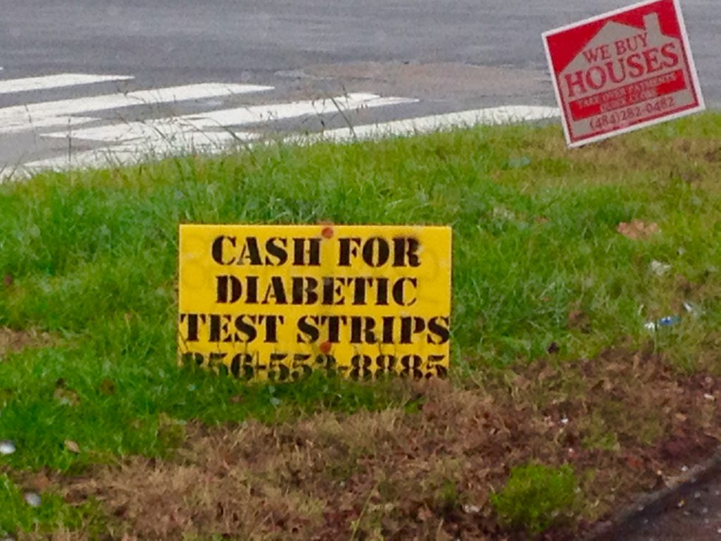 "Cash for diabetic test strips"" sign at Pennsylvania intersection"