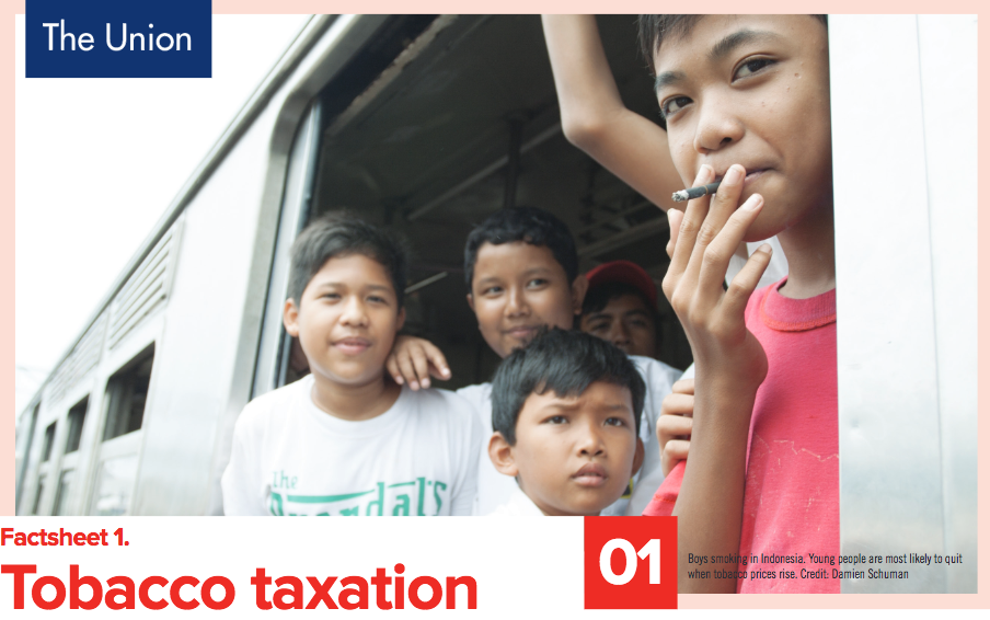 Cover of the International Union against Tuberculosis and Lung Disease's Factsheet on Tobacco Taxation