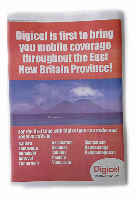 Digicel newspaper ad, September 2007. Photo by R. Foster