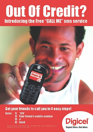 "Digicel ad for ""call me"" sms service, circa 2007."
