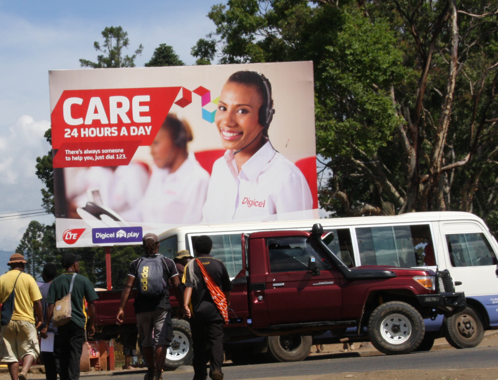 Digicel billboard in Goroka, Eastern Highlands Province, Papua New Guinea, 2015.
