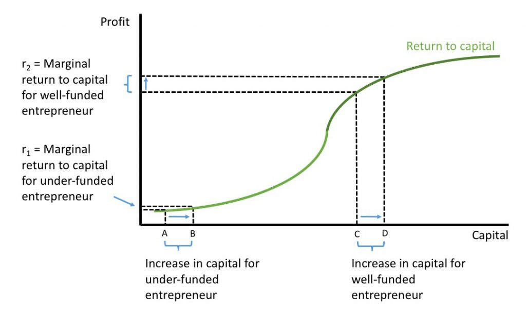 Figure 2. The Return to Capital (Case 2: Returns to Scale in Capital Investment). Entrepreneurs who start with little capital generate less additional profit than those who start with more capital.