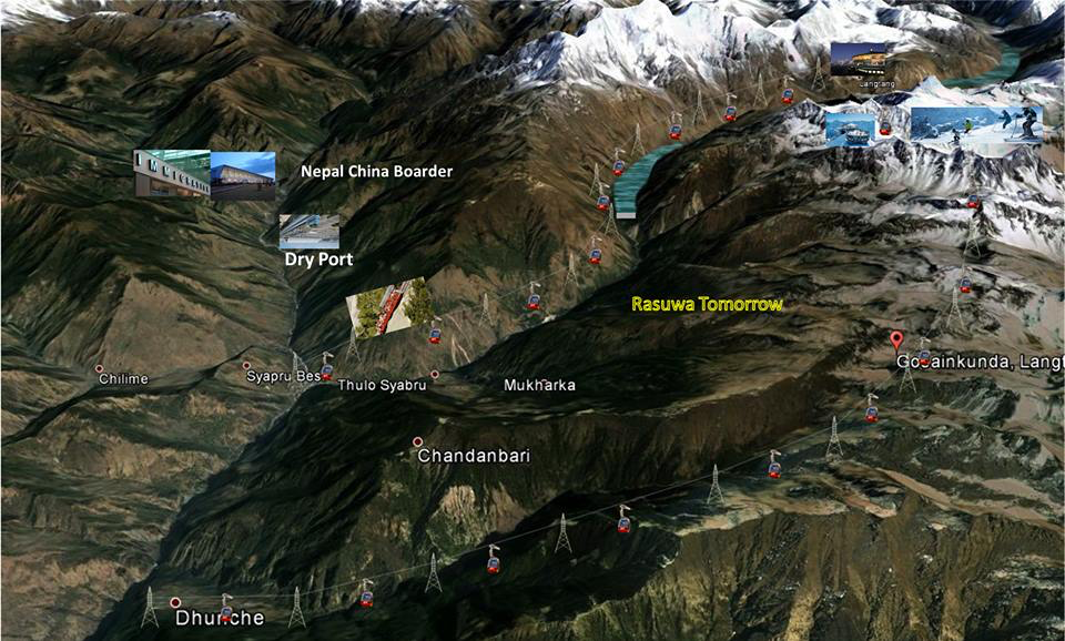 "Figure 2. ""Rasuwa Tomorrow,"" an image created in 2014 by the Chilime Hydropower Company depicting an imagined infrastructural future in the northern region of Nepal's Rasuwa District. In the upper-right quadrant of the frame, between images of gondolas and skiers, one can see the double reservoirs of the proposed Langtang Storage Project above and below Langtang village."