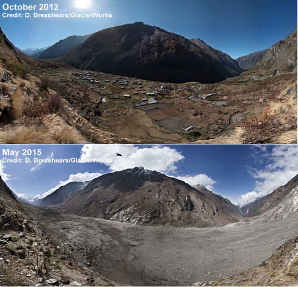 Figure 3. Langtang village, before and after the avalanche (David Breashears/Glacierworks).