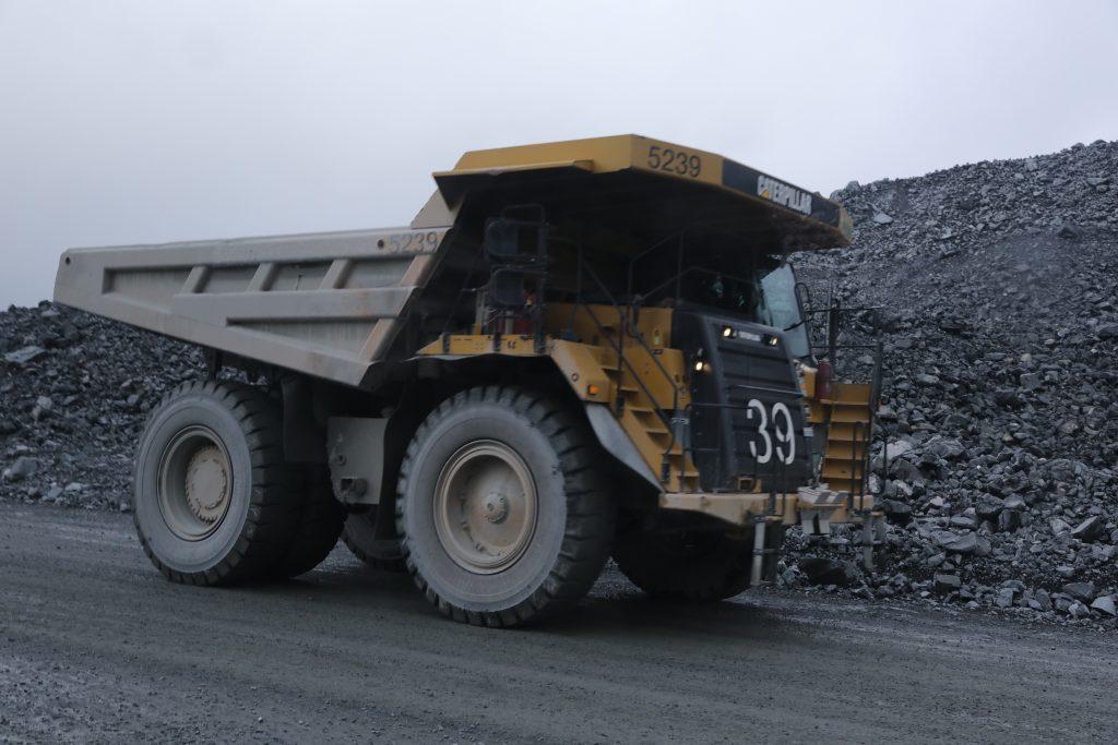 Caterpillar trucks at Malartic Mine.