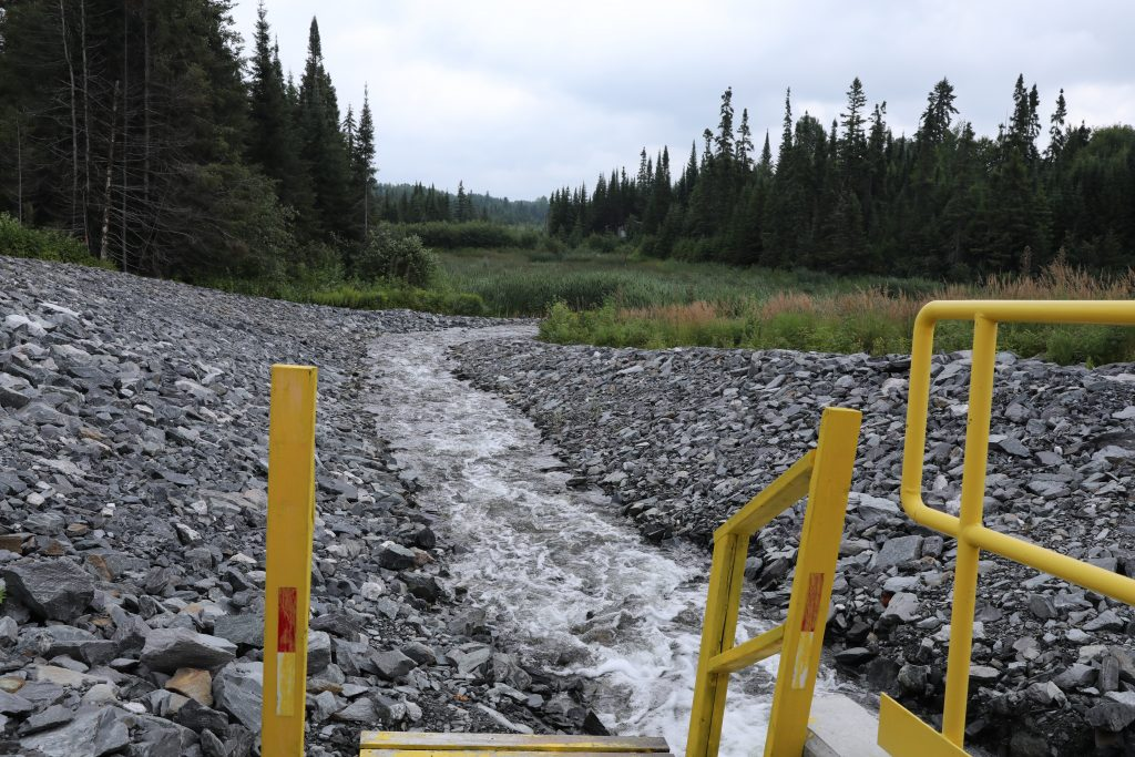 To avoid immediately killing wildlife, water from the mine must be treated to raise its pH from 2-3 to 5-6. Here treated water is released into the boreal forest.