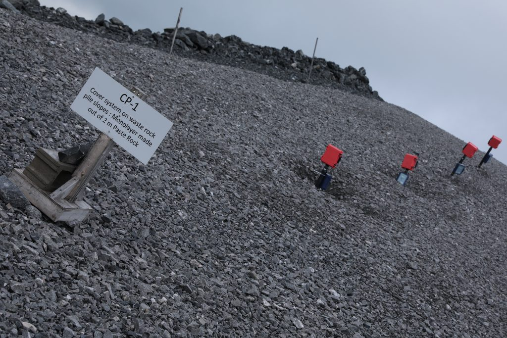 Sensors in the waste rock retention testing grounds.