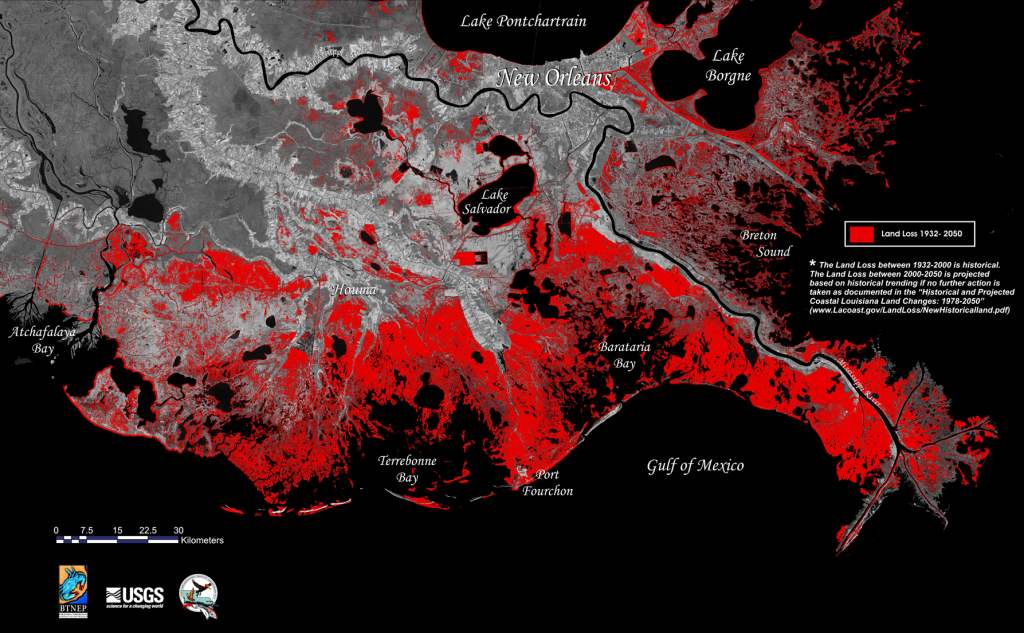 Fig. 1: Historic and projected coastal land loss in Louisiana, 1932-2050.