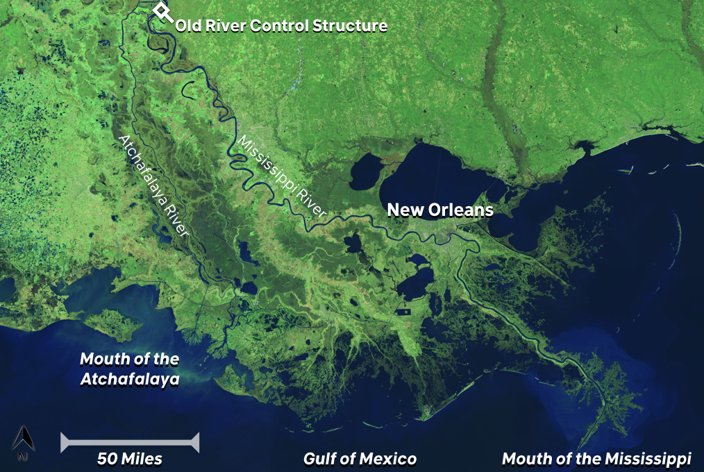 Figure 2: The Mississippi and Atchafalaya Rivers, and the Old River Control Structure
